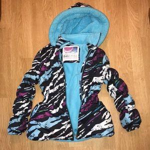 Big chill zebra print girls winter puffer coat